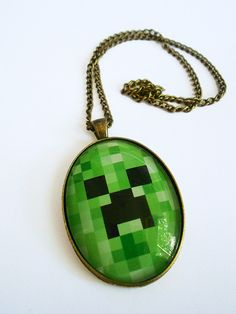 Creeper Necklace Minecraft Gaming. $16.00, via Etsy.