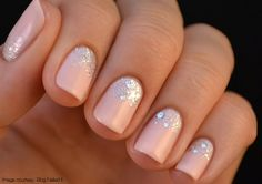 wedding nails, pink nails, nail colors, pale pink, glitter manicur