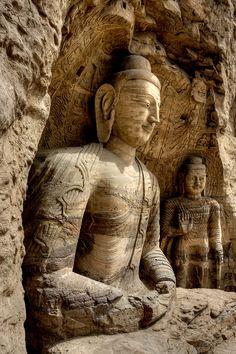 Rock carved buddha statues at Yungang Grottoes in Shanxi, China