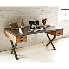 Want this in my office. WALTER DESK   Wood & Metal Work Table   UncommonGoods