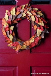 This Fabulous Fall Leaves DIY Wreath is one of the best fall craft ideas that your little ones can do. Your kids can have fun reflecting on what they are most thankful for by writing it on the leaves that will be used to decorate their DIY wreath. | AllFreeKidsCrafts.com