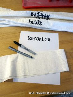 Craft, Interrupted: Ninja Party Headbands... plus links to more fun ninjago party ideas - love this one!