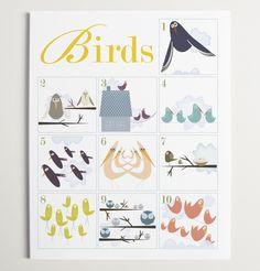 wall art, count bird, nurseries, bird 110, bird prints, bird theme, art print, modernpop, birds