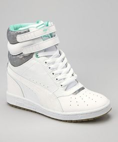 Look what I found on #zulily! White Electric Green Sky Wedge OP Sneaker #zulilyfinds