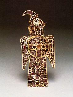 Ostrogothic Gold and Garnet Cloisonne Orinthomorphic Fibula, From the Domagnano Treasure. Gold and garnet, 5th Century C.E., Danube river region of Europe