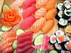 assorted #sushi with #ginger #flower