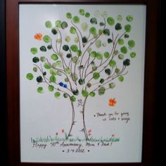 "40th anniversary gift for my parents; fingerprint tree.  ""Thanks for giving us roots and wings."""