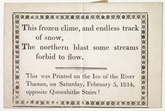 Letterpress frost-fair keepsake printed on the frozen river Thames during the winter Frost Fair on 5th February 1814.