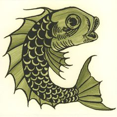 William De Morgan: Animals on Plain Background - Fish.