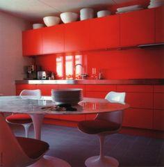 red kitchen+ saarinen