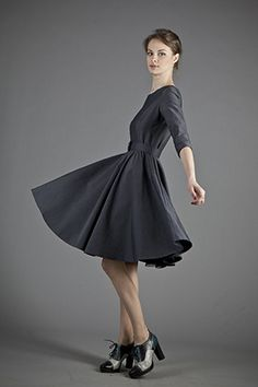 Steel Gray Full Circle Dress