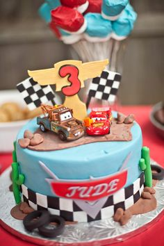 Disney Cars Birthday Cake- Landon already has both characters for the topper.