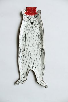 bear in red hat - lovely spoon rest design by Clay Opera