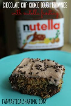 Chocolate Chip Cookie Dough Brownies with Nutella Frosting | www.fantasticalsharing.com | #dessert #Nutella #brownies