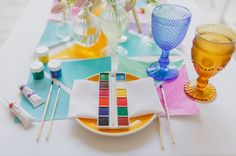 watercolor palette table setting