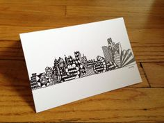 Detroit Skyline Hand Drawn Greeting Card