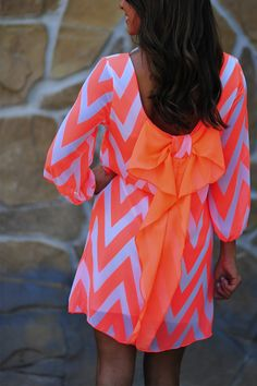 summer dresses, fashion, dream dress, style, cloth, neon peach, mini dresses, big bows, bright colors
