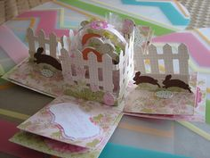 Cricut Easter Exploding Box Card. Sweet Tooth Boxes, Wrap it up, Easter and Create a Critter Cartridges. SS
