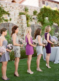 Mismatched Purple Bridemaids Dresses 2