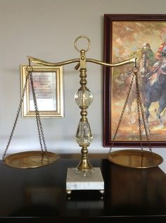 Marble/brass scales of justice