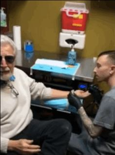 """""""This is nothing compared to what my grandson went through when he first came out,"""" Frank said while getting the tattoo. 