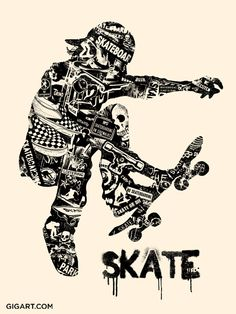 Skate Anatomy Art Print by Gregg Gordon / GIGART. Size: 18 inch x 24 inch 1 color silk screen on Cream Speckletone French Paper. This Skate Anatomy Print is 1 of 3 Extreme Sport Prints. The silhouette of this skater is made up of many skateboard related images and phrases, basically the lifestyle of one who lives to ride. Ride or Die! See also the Bike and Surf Prints listed. Collect them all at www.gigart.com