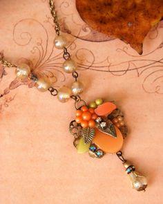Pumpkin patch.vintage assemblage orange cluster necklace. Tiedupmemories