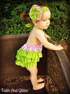 Kiley Ruffled Baby Bubble Romper Sunsuit and Hair Bow Set - Lime Green Dots and Pink & White Damask