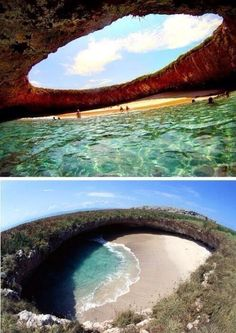 Hidden Beach, Marieta Islands, Mexico - once a target practice for the Mexican government, this former bomb site is now a paradise for snorkelers, scuba divers, and nature lovers, because the crystal clear waters make it easy to see the humpback whales, sea turtles, dolphins, and colorful fish that congregate here.