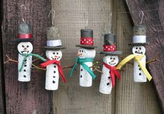 Wine Cork Snow Men Christmas Tree Ornament by Shadetreecarvings, $4.00