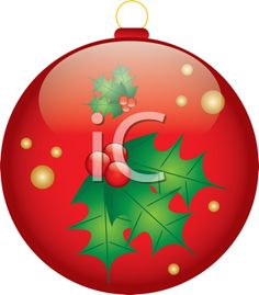 Royalty Free Clipart Image of a Christmas Ornament with Holly