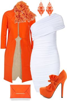 """Orange & White"" by stay-at-home-mom on Polyvore"