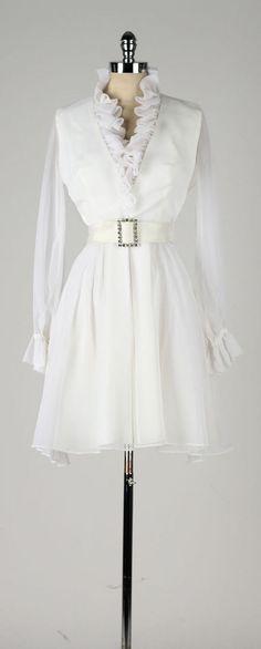 vintage 1960s dress . white chiffon . sheer by millstreetvintage