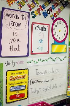 I like the Words to know. I could maybe have three words we work on every week. Words chunks, sight words