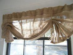 Burlap curtain for laundry room