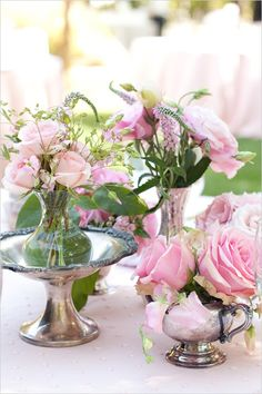 love the idea of light peach, light pinks and maybe very light lavender with the silver accents like these and crystal glasses