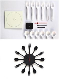 6 forks, 6 soup spoons, Polystyrene sheet, A clock mechanism, Super glue ~~~