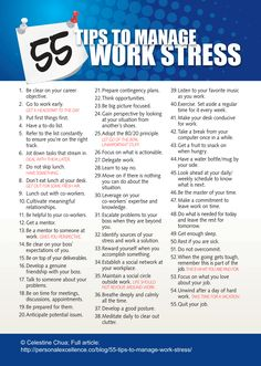 55 Tips to Manage Work Stress