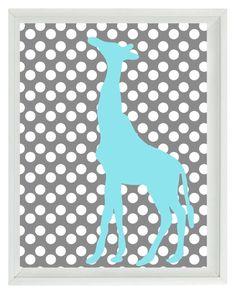 Giraffe Wall Art Print - Nursery Children Kid Baby Room Aqua Gray Polka Dots Custom Home Decor 8x10 print. $15.00, via Etsy.