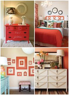 Love this Coral colored bedroom. The scrolled headboard is super whimsical and girly! coral color bedroom, coral colored bedrooms, color schemes, coral room, coral and turqouise bedroom, painted dressers, coral bedroom furniture, guest rooms, coral bedroom decorations
