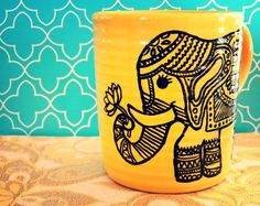 Coffee Mug ELEGANT ELEPHANT Hand illustrated by WholeWildWorld, $13.00 Lotus flower- coffee cup.. tea cup.. kitchenware. dishes. kitchen.