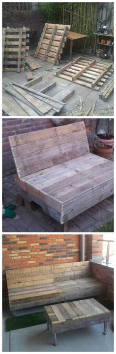 Bench and table made from pallets DIY