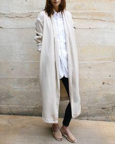 jacket, cream long, white shirts, outfit, wood wood