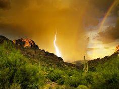 mountains, lightning, double rainbow, thunderstorm, national geographic, rainbows, superstit mountain, deserts, bermuda triangle