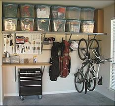 Garage organization. Think of all the floor space this would occupy!  Two shelves is all it takes!!
