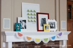 doili, frame, mantel, st patricks day, scrapbook paper, picture collages, rainbow, garland, mantl