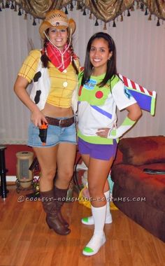 Female Buzz Lightyear and Woody Couple Costume  I want to do this so    Woody And Buzz Couple Costumes
