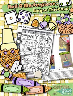 Roll-A-Masterpiece: Wayne Thiebaud Art History Game - Oil Pastel/Painting Ideas! #artsed #education #art #wayenthiebaud #cupcake #painting #teacherspayteachers #oilpastels art game, histori game