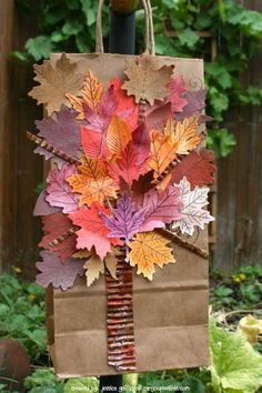 gift bags, idea, fall leaves, gift wrap, craft, gifts, card, fall gift, leav gift