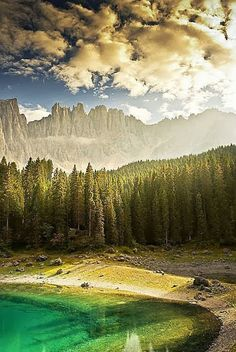 Lake Carezza - Dolomites in South Tyrol, Italy.